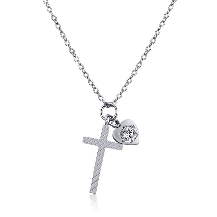 Fashion Love Cross Necklace Titanium Steel Plated Rose Gold Clavicle Necklace Women