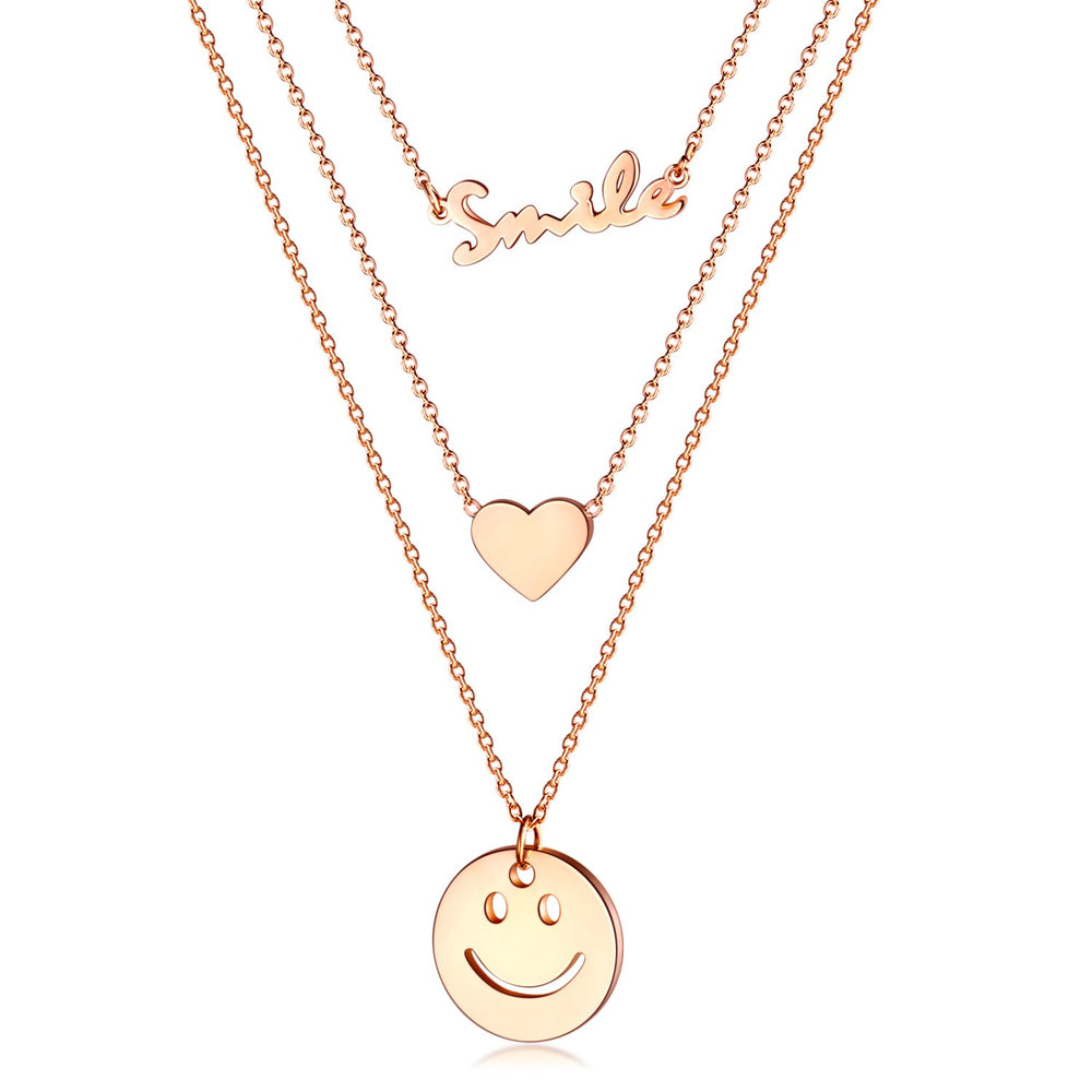 Fashion English Love Round Brand Smiley Face Stainless Steel Multilayer Necklace
