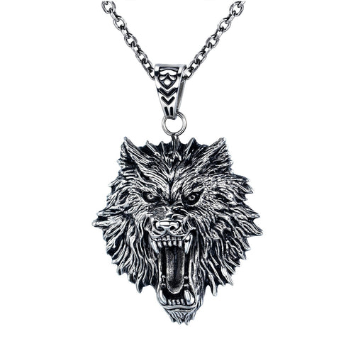 Hip Hop Bounce Titanium Steel Men's Necklace Street Trend Retro Wolf Head Pendant Jewelry