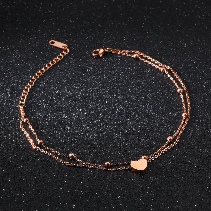 Titanium steel love double layer anklet