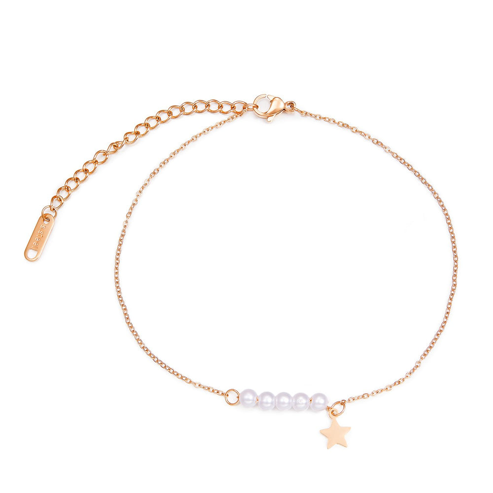 Japanese and Korean temperament five-pointed star pearl titanium steel anklet