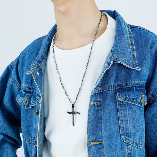 Men's Stainless Steel Nail Cross Charm Pendant Necklace Polished Gold Silver Black 24 Inch Chain