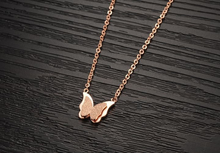 Stainless Steel Dull Polish Butterfly Necklace Rose Gold Color Delicate Women Jewelry