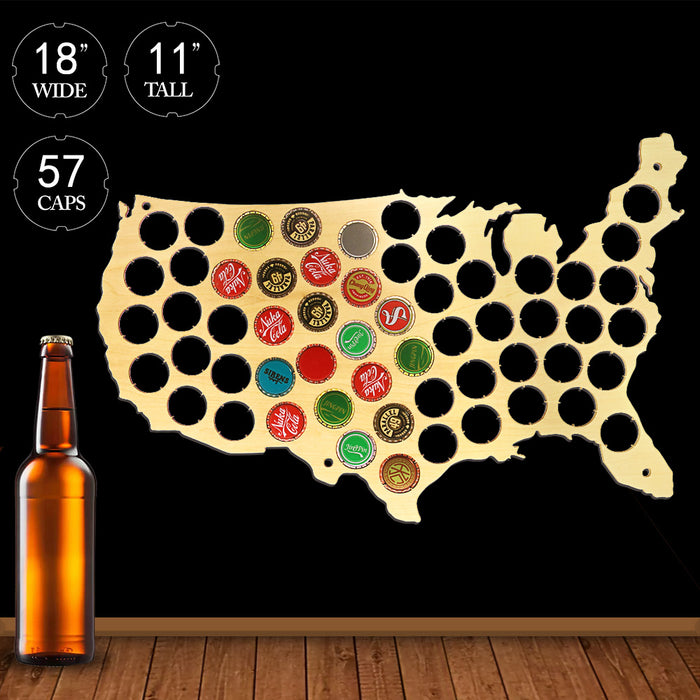 USA Patriotic Wooden Beer Cap Maps