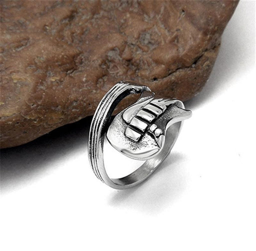 Stainless Steel Mens Ring Titanium Steel Engraved Guitar Punk Rock Classic Rings for Men