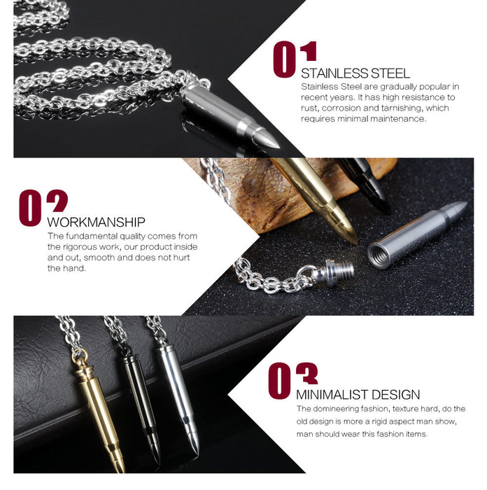 Cool Man's Bullet Pendant Necklaces New Fashion Punk Style Stainless Steel Personality Men's Jewelry 3 Colors
