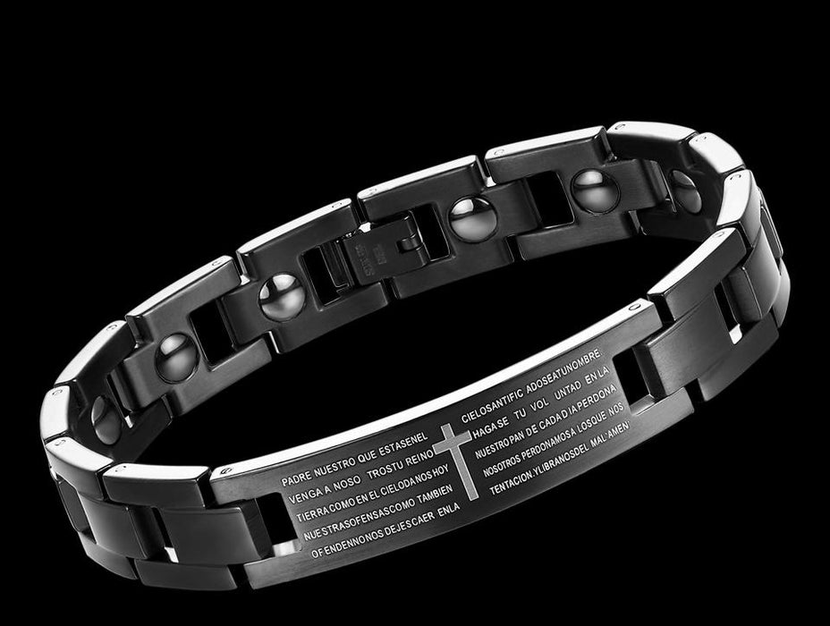 Men's stainless steel bracelet, black gold stainless steel English Bible main prayer cross men's religious wristband bracelet