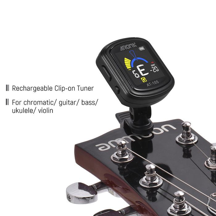 AROMA AT-105 Guitar Rechargeable Clip-on Tuner