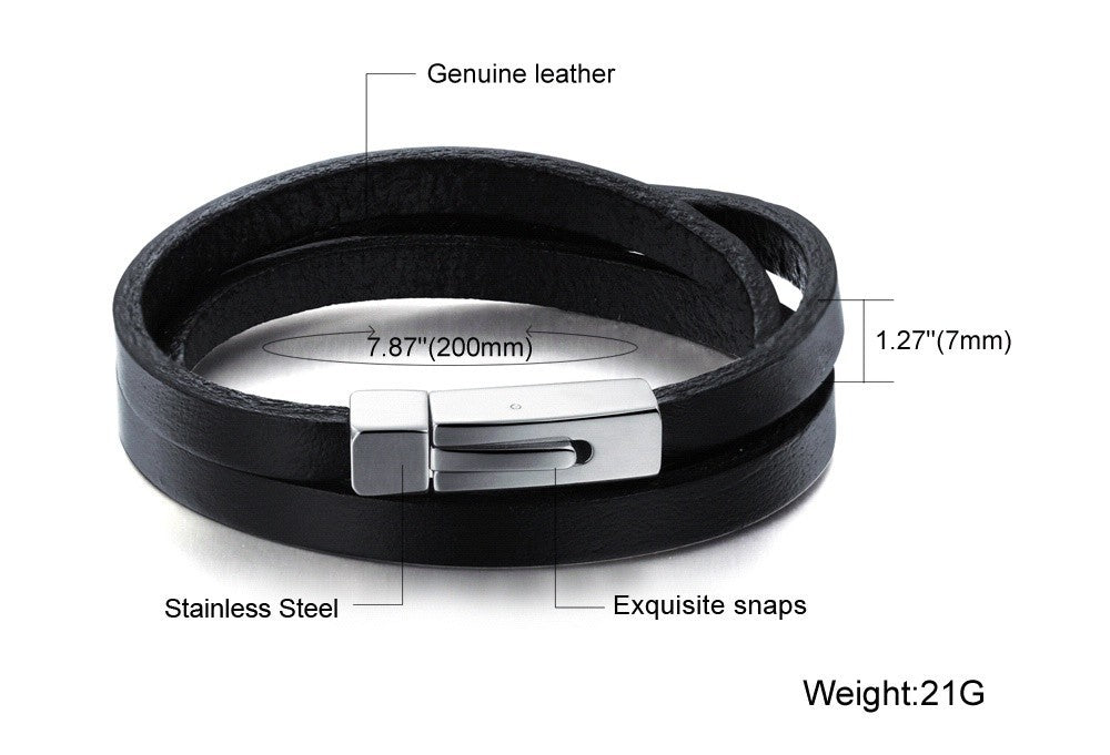 Three Layers Real Leather Bracelets Classical Full Steel Magnet Clasp Men Jewelry