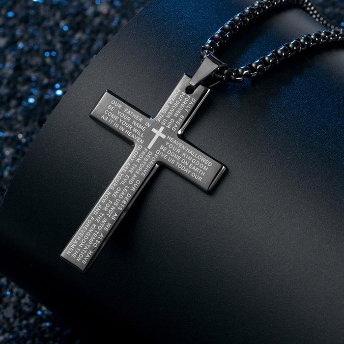 Cross Pendant Necklace, Stainless Steel Cross Pendant Necklace for Men Lord's Prayer Necklace