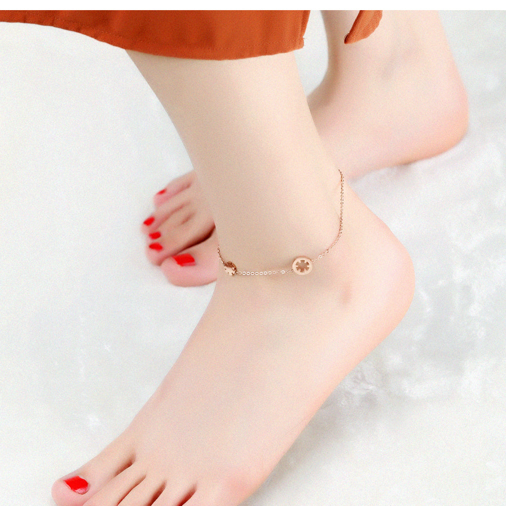 Top Brand Snowflake Anklets Bracelet For Women Rose Gold Color 21-26 CM Girl Female Ankle Foot Chain Jewelry