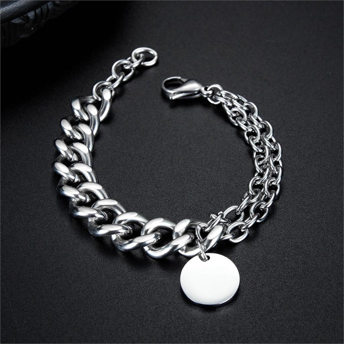 Men Bracelets Round Tag Customize Link Stainless Steel Metal Clasp Charm Male Free Engrave Chain