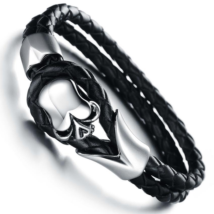 Dirty Skull Black Leather Men's Bracelet - Florence Scovel - 2