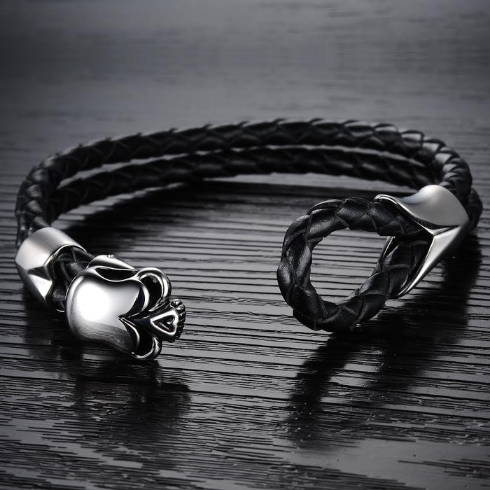Dirty Skull Black Leather Men's Bracelet - Florence Scovel - 4
