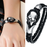 Dirty Skull Black Leather Men's Bracelet - Florence Scovel - 5