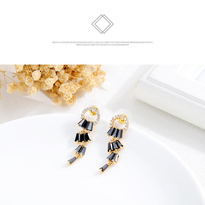 Samba style trendy diamond earrings women fashion gold-plated copper earrings