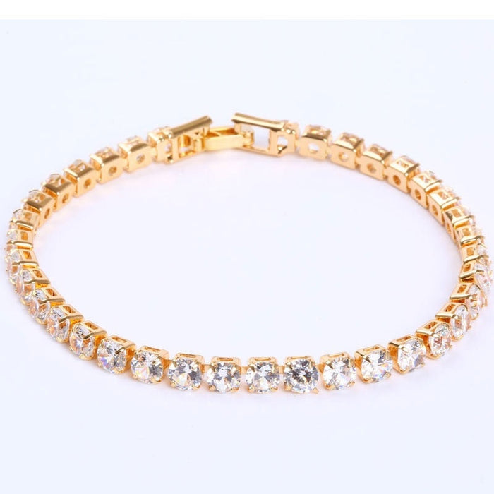 Luxury 4mm Cubic Zirconia Tennis Bracelets Iced Out Chain Crystal Wedding Bracelet For Women Men Gold Silver Color Bracelet