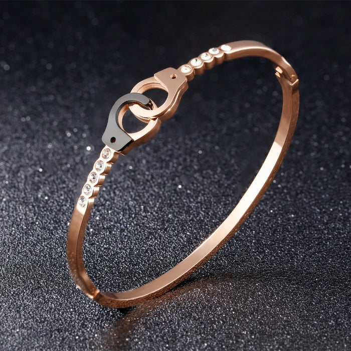 Handcuffs Open Bangles For Women Rose Gold Color Pave Cubic Zirconia Lock Design Birthday Party Office Gift