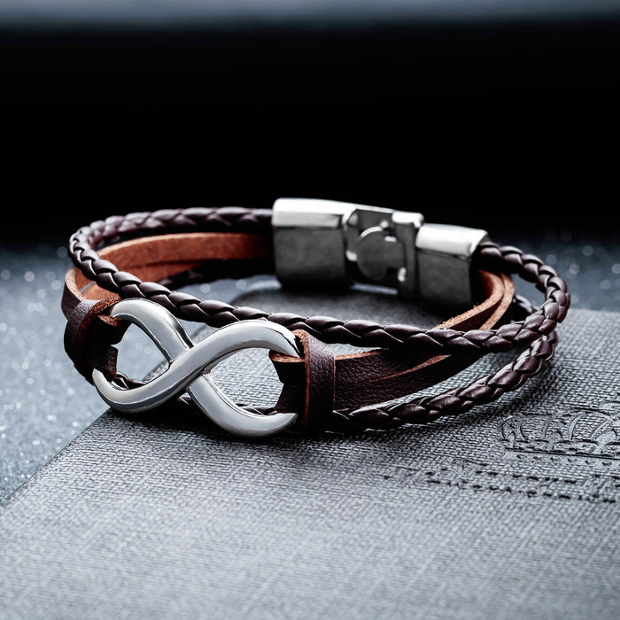 Fashion Infinity 8 Bracelet Hand-woven Wrap Leather Bracelet Rope Chain Bracelet 6 Colors Men Jewelry pulseras