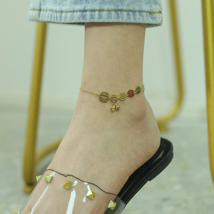 Ankle Bracelet Gold Fashion Wheel Design Bell Sandals Women Summer Foot Bracelet Stainless Steel Link Chain