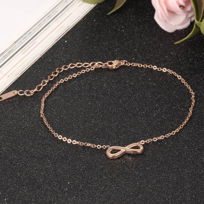 Ankle Bracelet Rose Gold Infinity Sandals Women Summer Foot Bracelet Stainless Steel Link Chain
