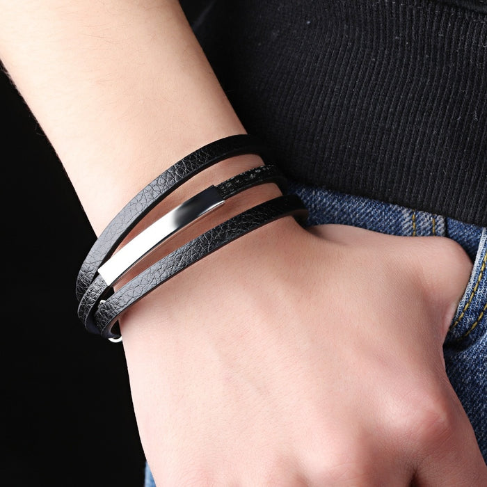 Casual There Layer Genuine Leather Man Bracelets Simple Design With Magnet Buckle Men Handmade Wrap Jewelry Gift
