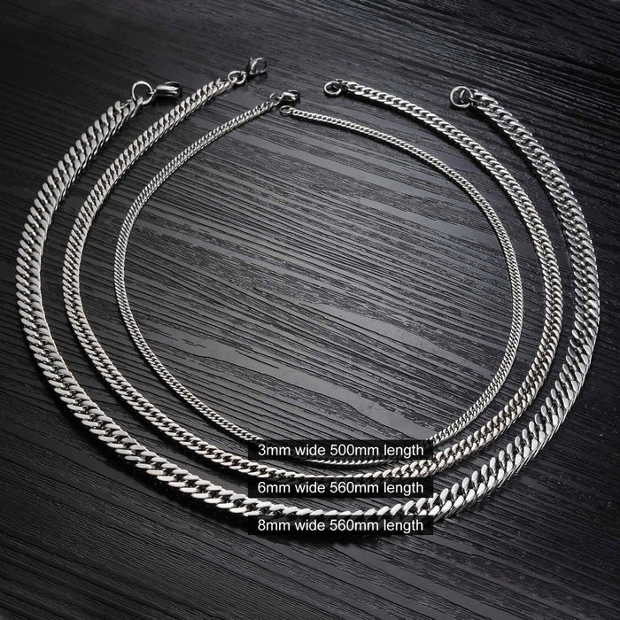 Fashion Width 8mm/6mm/3mm Length 56cm/50cm Man Necklaces Classical Stainless Steel Link Chain Men Jewelry