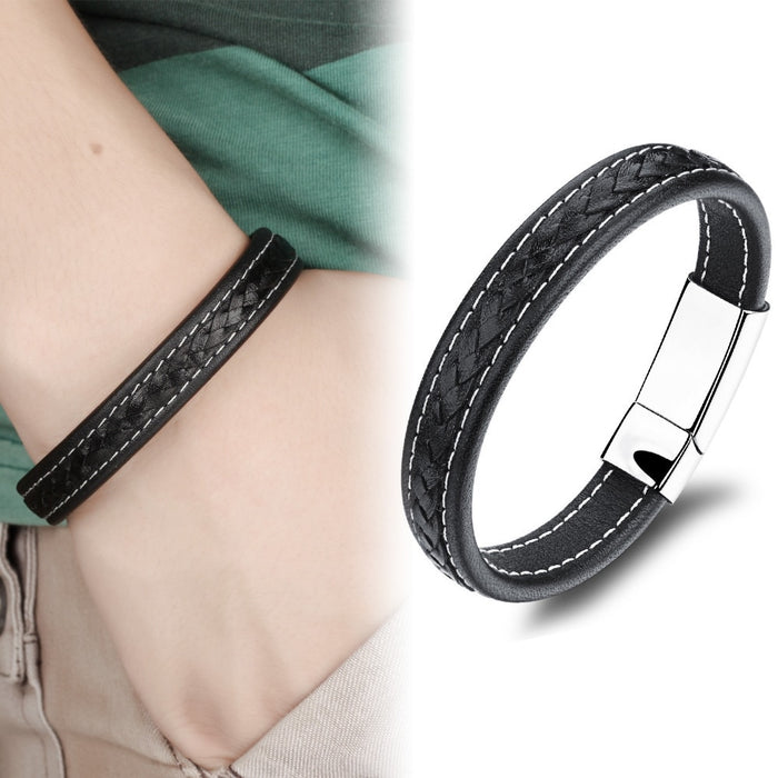 Genuine Leather Watchband Man Bracelets Punk Style Stainless Steel Men Jewelry Rope Chain 20.5cm Accessories