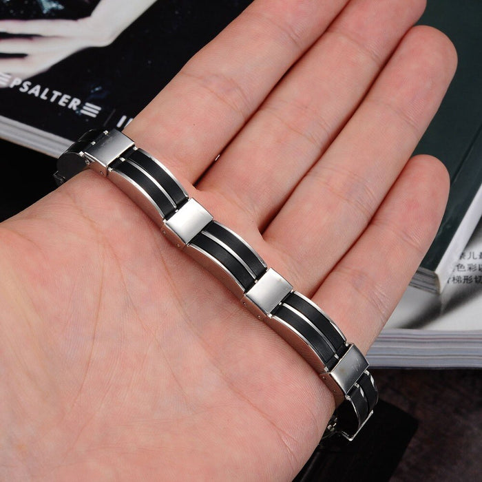 Trendy Silicone Stainless Steel Wire-Cable Chain Handmade Wide Wristband Black Punk Rock  Men Accessory