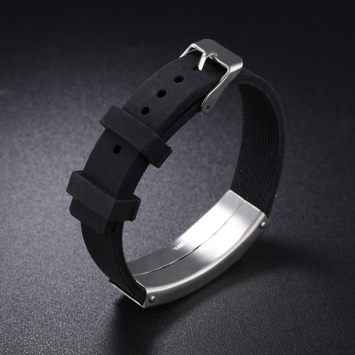 Laser Engraving Silicone Men 's Bracelet Stainless Steel Pin Buckle Length Resizable Man Wristband Gift