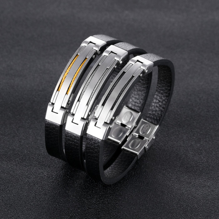 Mens Vintage Leather Wrist Band Black Rope Bracelet Bangle Double Wire Brother ID Bracelet Engraved Female Jewelry