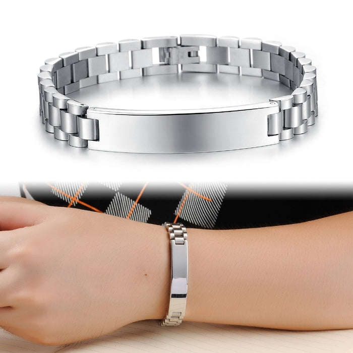 Men Fashion Casual Sporty Stainless Steel 21CM Long Jewelry Bangle