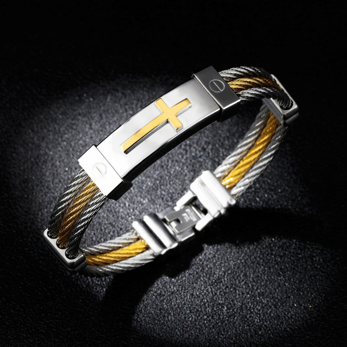 Wire Rope Cross Bangles For Men Three Layers Stainless Steel Gold Color Male Charm Cable Bracelet Jewelry Gift