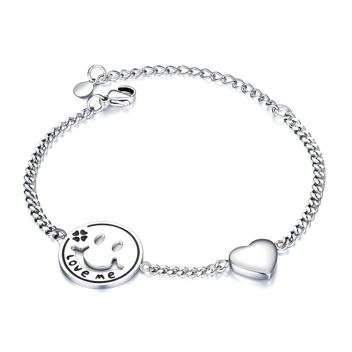 Women Bracelets Love Heart Smile Face Stainless Steel Metal Tone Charm Adjustable Chain Wristband