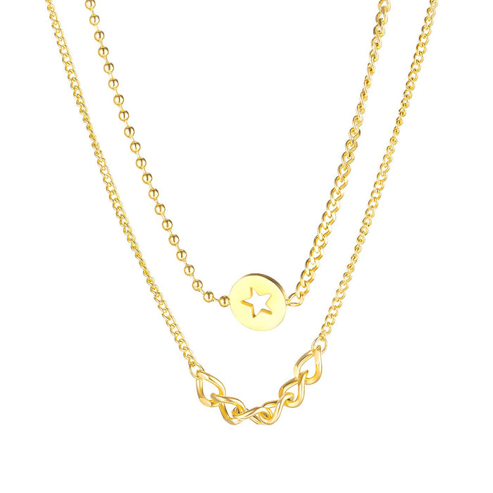 Womens Necklaces Double Levels Stars Link Chains Stainless Steel Gold/ Steel Tone Pendant Jewelry