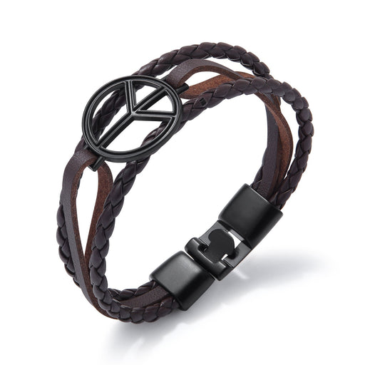 Retro hand-woven multi-layer trendy men's leather bracelet student wrist bracelet