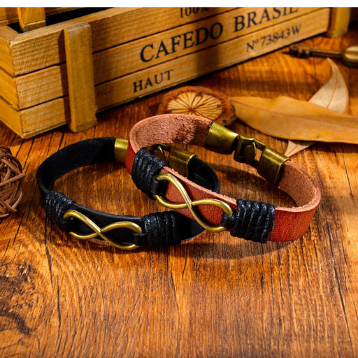 Punk personality woven endless 8 word leather bracelet