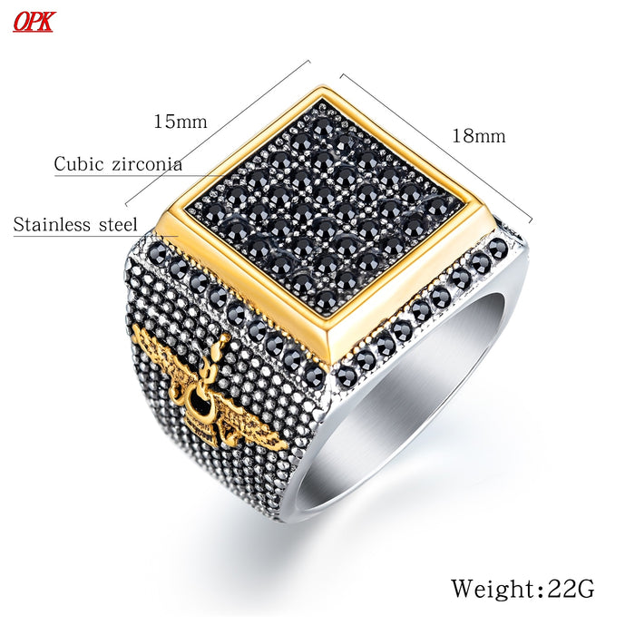 Turkey Men Rings Black Gold Full CZ Diamond Eagle Squart Design Rings Luxury Titanium Steel Vintage Punk Party Cool
