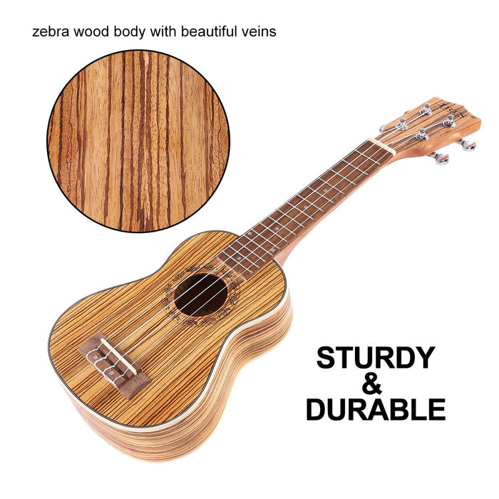 Zebra Wood Ukulele with Padded Storage Bag