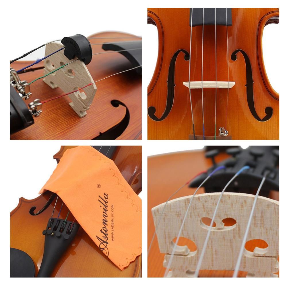 Violin Strings Rubber Mute Maple Wood Bridge Cleaning Cloth Accessories Kit