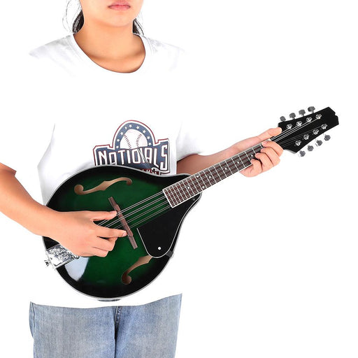 22 Fret Wooden Mandolin 8 String with Carry Storage Bag Green