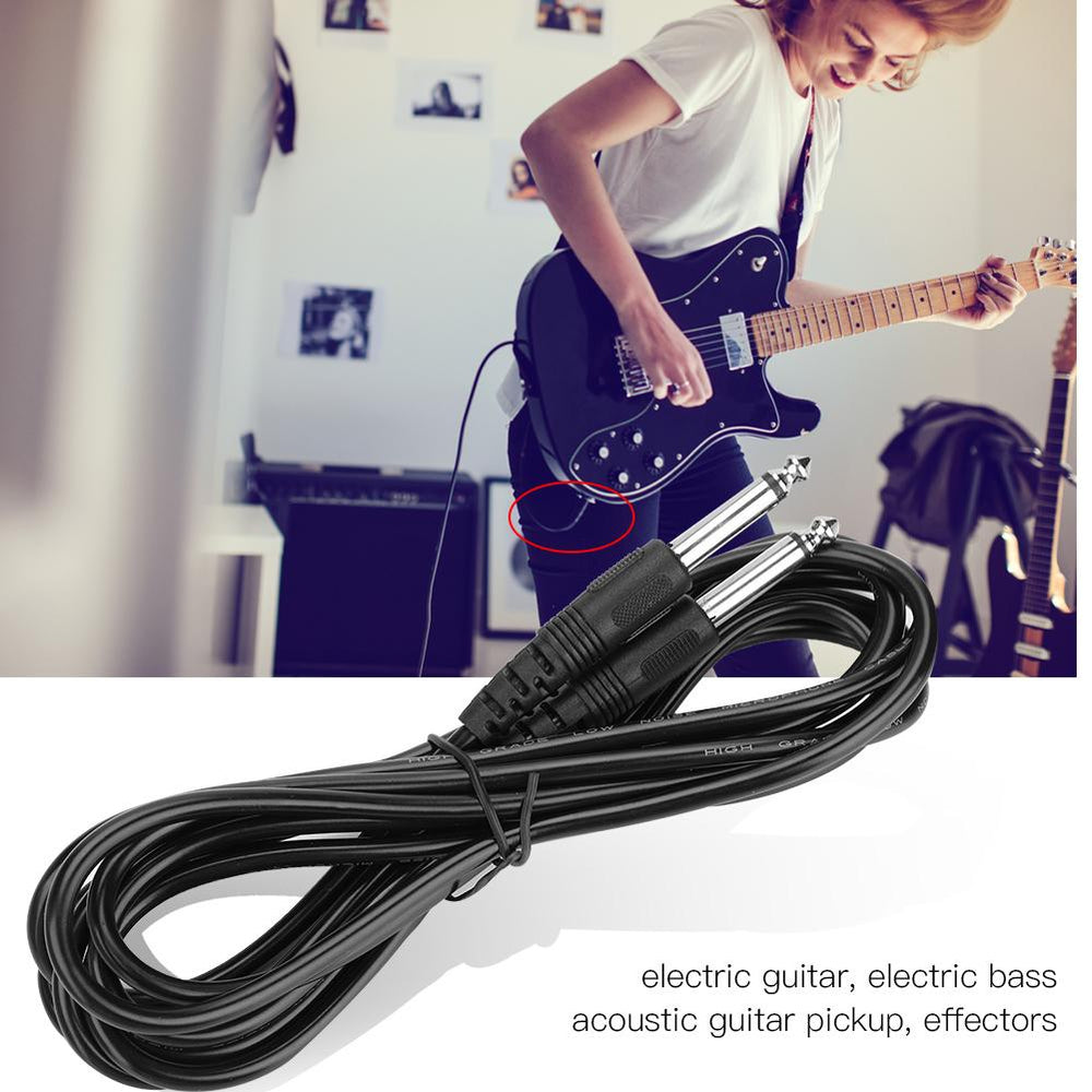 6.35mm Guitar AMP Instrument Patch Straight Jack Male Lead Cable Cord Double Straight