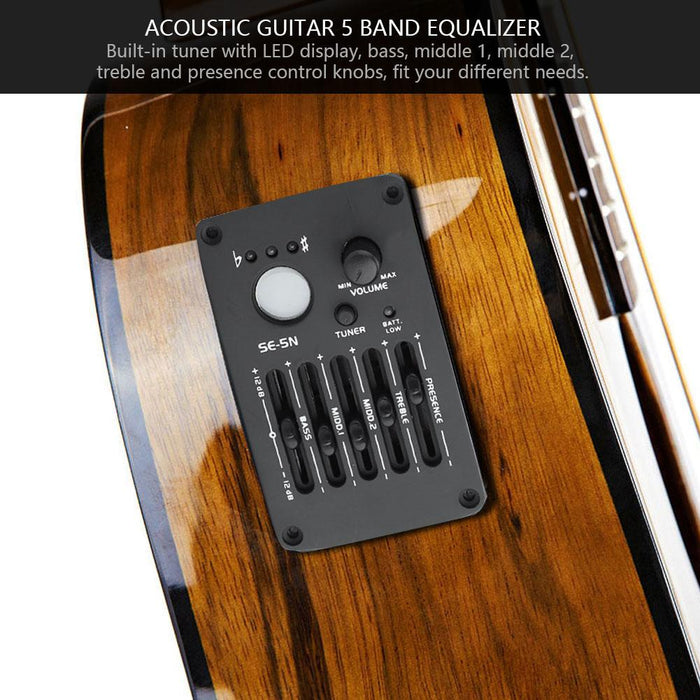 SE-5N 5 Band EQ Equalizer Pickup Tuner for Acoustic Guitar Musical Instrument Accessory Kit