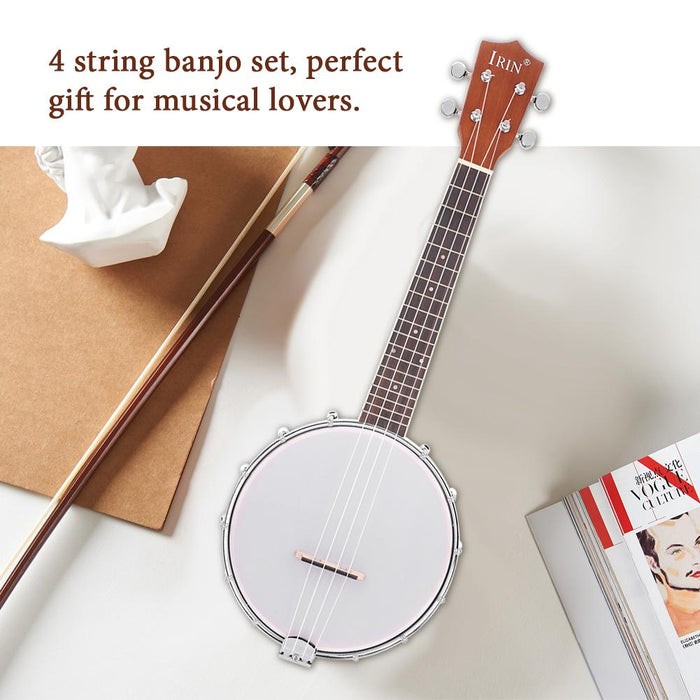 4 String Banjo Set with BJ10 Strings Capo Cleaning Polish Cloth