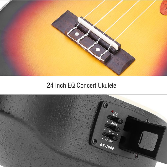 24 Inch EQ Concert Ukulele with Storage Bag Strap Audio Cable