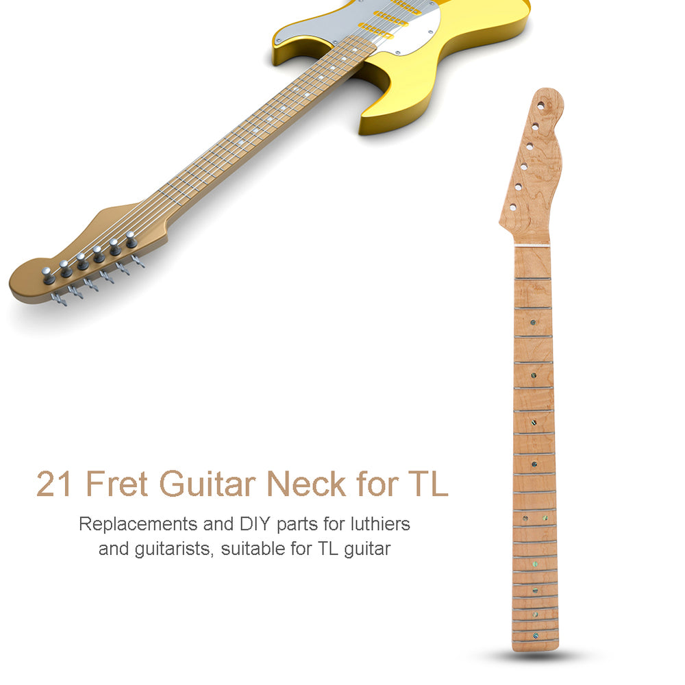 21 Fret Curly Maple Guitar Neck Abalone Shell Dots for TL Telecaster Parts Natural Wood Color