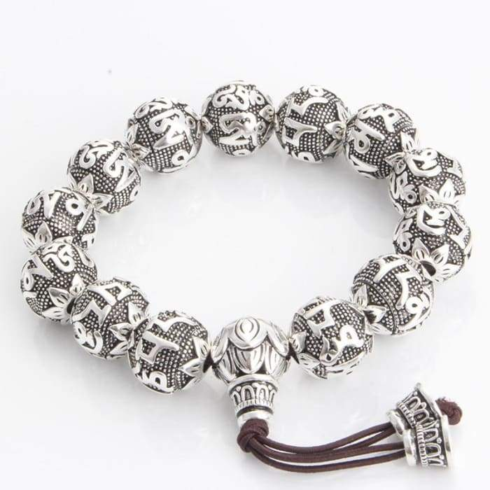 "Hand Engraved Silver Tibetan Prayer Bracelet ""Lotus"""