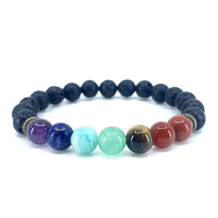"Bracelet ""Healing of the 7 chakras"" in Lava Stones"