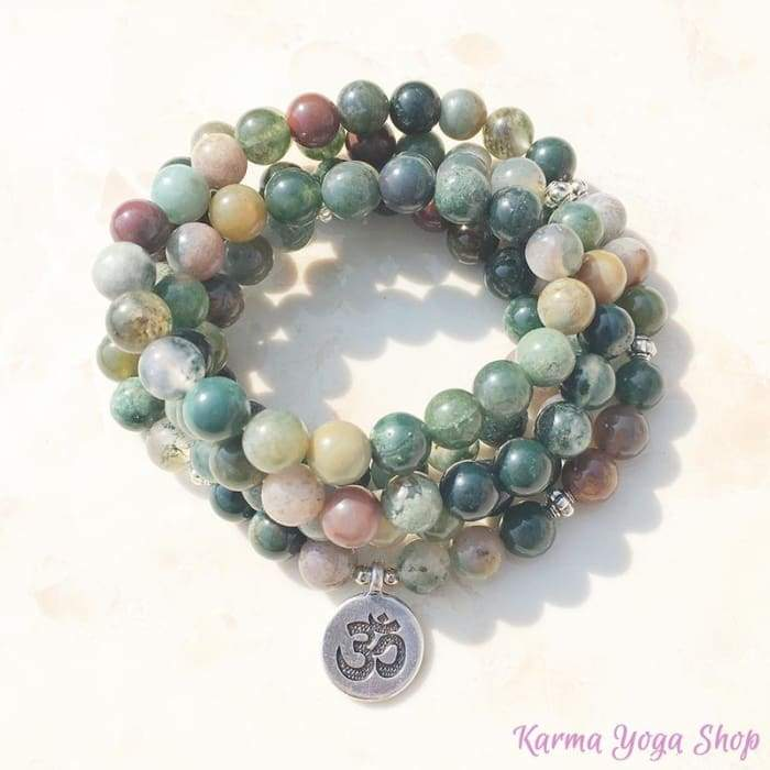"""Lucky"" Mala Bracelet with 108 Indian Agate beads"