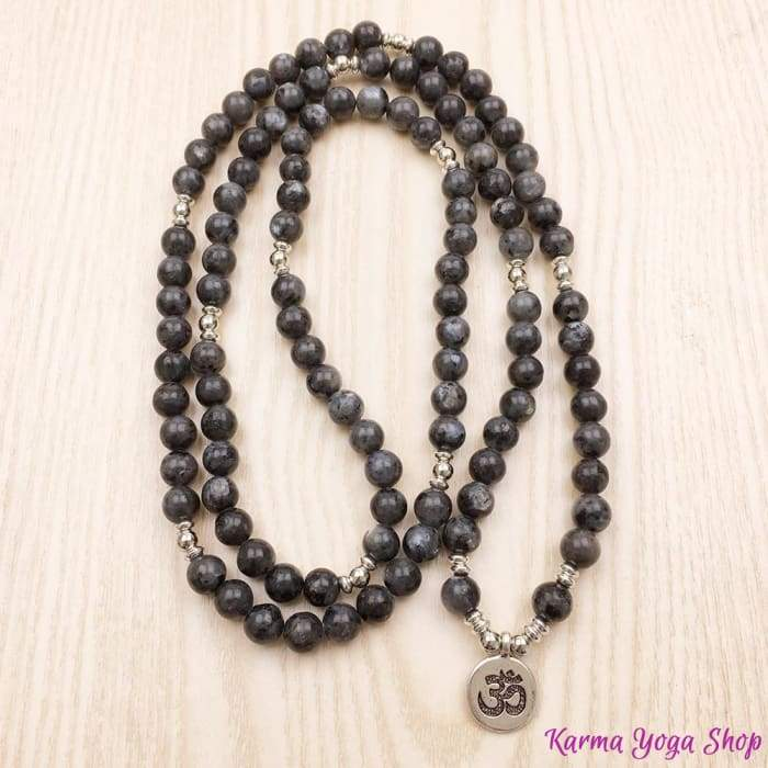"""Om"" Mala Bracelet with 108 Natural Gray Labradorite Beads"